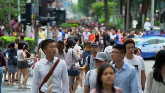 人々 の群衆クロス オーチャード ロード - ファストモーション点の映像素材/bロール
