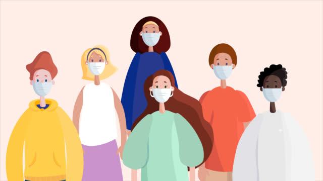 folla di persone con maschere protettive per il viso. animazione piatta 2d - illustrazione video stock e b–roll