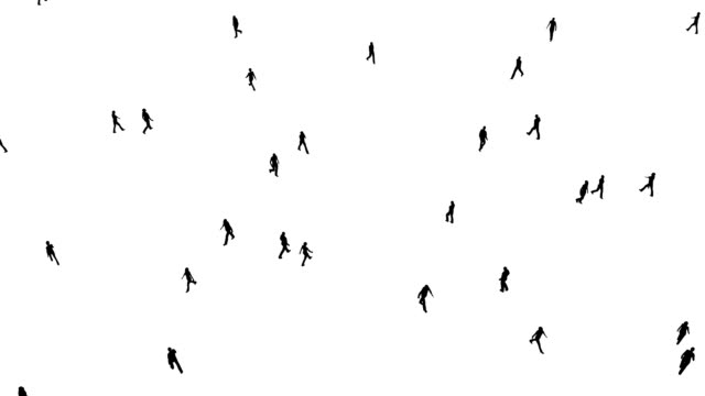 crowd of people moves on white - city walking background video stock e b–roll