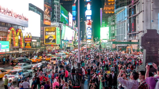 Crowd of people on Times Square video