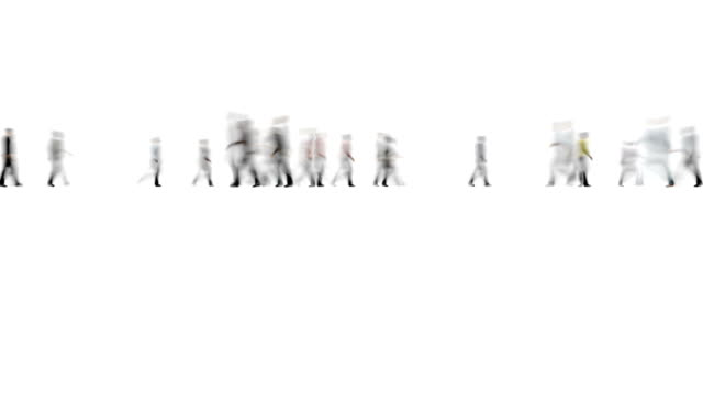 Video Crowd of People on White Motion Blur Style 4k