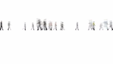 vídeos y material grabado en eventos de stock de multitud de personas en movimiento blanco estilo de desenfoque 4k - recortable