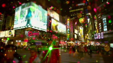 Crowd of people Time Square Snow glitter Shift tilt effect Time square with snow glitter, christmas time and new year's eve. Shift tilt effect. 2015 stock videos & royalty-free footage