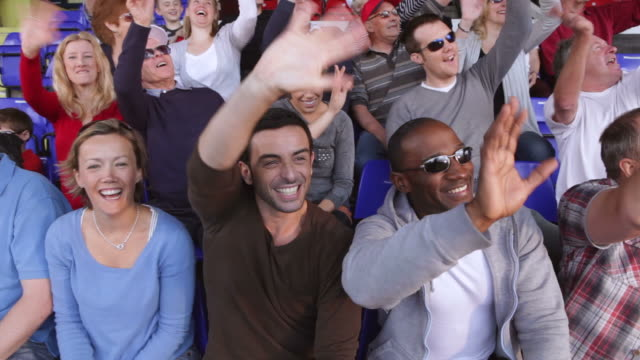 Crowd of  spectators see themselves on TV video