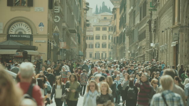 Crowd of tourists in Florence, Italy