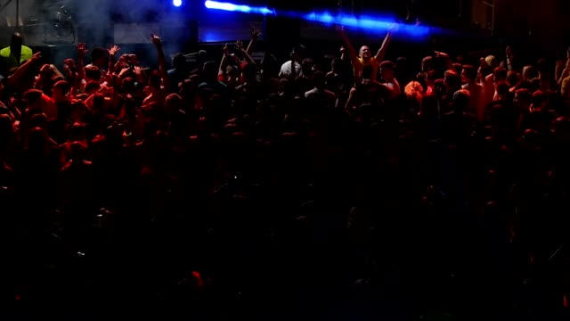 Crowd of young people dancing on party video