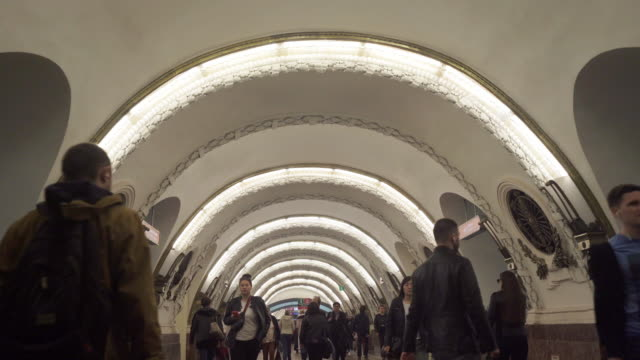 crowd on subway in moscow, russia video