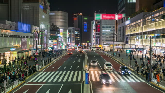 Crowd people and night city Tokyo video