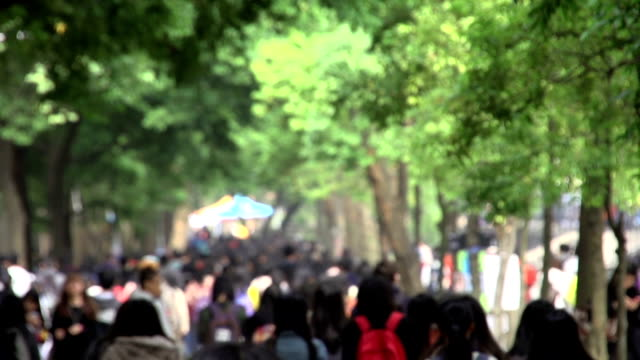 crowd people Asian young people at campus street. campus stock videos & royalty-free footage