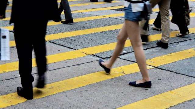 Crowd People Walking On Crosswalk video