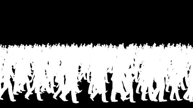 크라우드 실루엣 걷기, 루프 - 반복 스톡 비디오 및 b-롤 화면