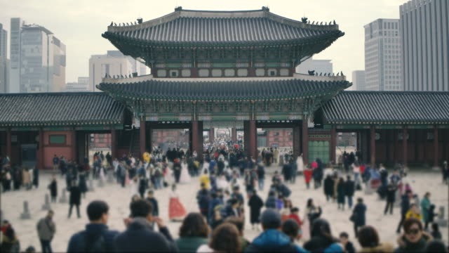 Crowd travel to Gyeongbokgung Palace in Seoul, South Korea. Crowd travel to Gyeongbokgung Palace in Seoul, South Korea. gyeongbokgung stock videos & royalty-free footage
