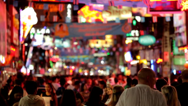 Crowd walk through the Walking Street in Pattaya, Thailand. video