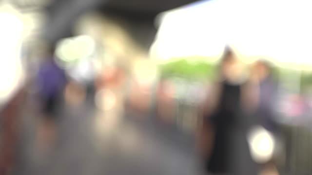 crowd walking on pedestrian walkway - city walking background video stock e b–roll