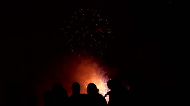 Crowd watching fireworks video