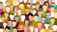 istock Crowd. Workers group, people in parade or in protest. Flat style. Animated background. Social community pattern of diverse people group in modern style 1281219270