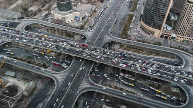 T/L WS HA ZO Crowded City Traffic / Beijing, China video