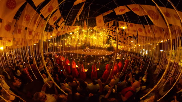 crowded in makha bucha day at wat pan tao temple famouse place in chiang mai - wat video stock e b–roll