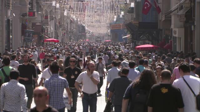 Crowded Istiklal street in Istanbul, Turkey video