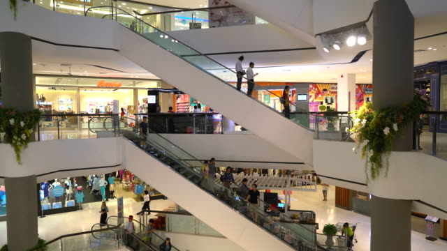 crowded people in luxury shopping mall video