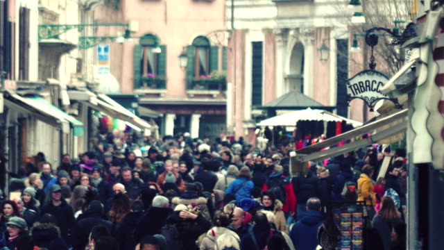 Crowded Venetian street video