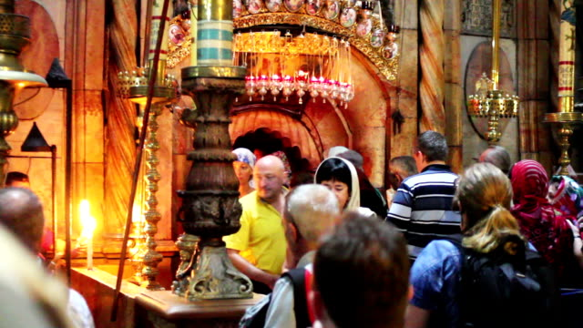 Crowds at the Church of the Holy Sepulchre video