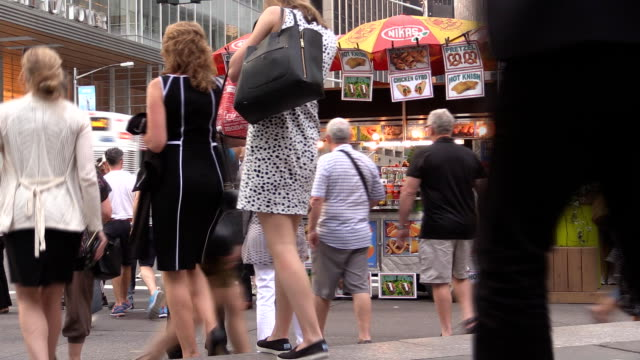 Crowds in Front of Hot Dog Stand in Midtown Manhattan video