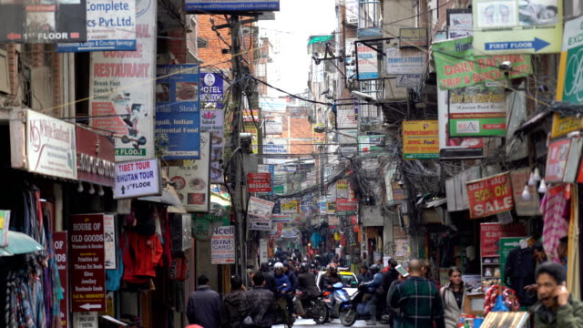Crowdy shopping street in Thamel district of Kathmandu, Nepal Crowdy shopping street in Thamel district of Kathmandu, Nepal souvenir stock videos & royalty-free footage