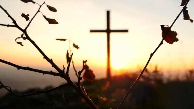 Crucifix on Mountain during Sunset. Beautiful Nature and Calm Atmosphere. video