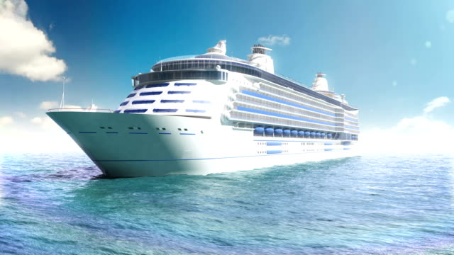 Cruise liner in a blue sea