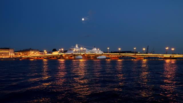 Cruise liner Night embankment of St. Petersburg video