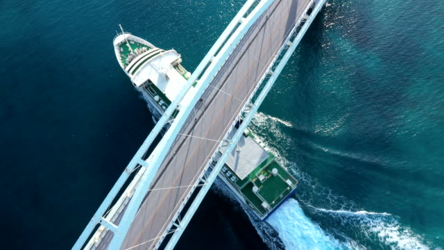 a cruise ship crossing under the bridge - passenger craft stock videos & royalty-free footage