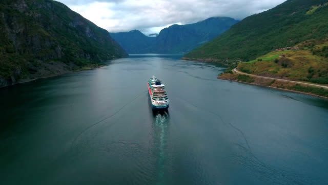 cruise ship, cruise liners on sognefjord or sognefjorden, norway - cruise video stock e b–roll