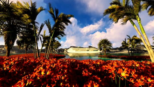 Cruise Ship On Sea Near Mountains Palm Tree And Flower Field Cruise Ship On Sea Near Mountains Palm Tree And Flower Field pacific islands stock videos & royalty-free footage