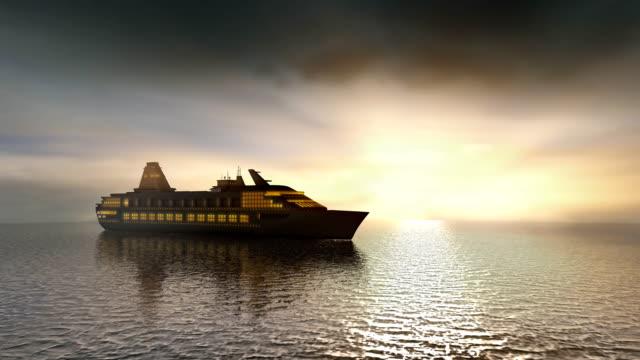 Cruise ship sailing on calm sunset seas video