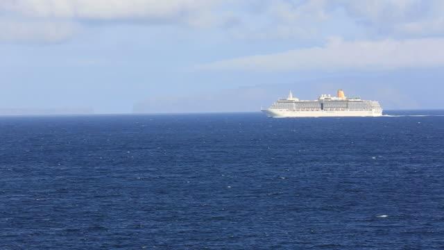 Cruise Ship Sails Into Atlantic Ocean, Madeira, Portugal video