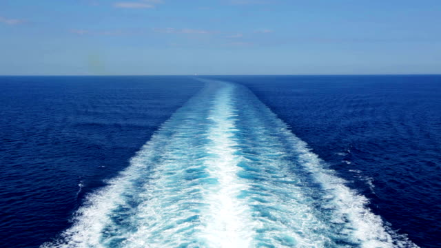 HD Cruise ship track with calm sea and clear sky video