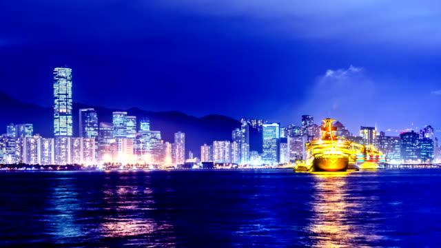 Cruise Ships in Hong Kong. Night Timelapse. video
