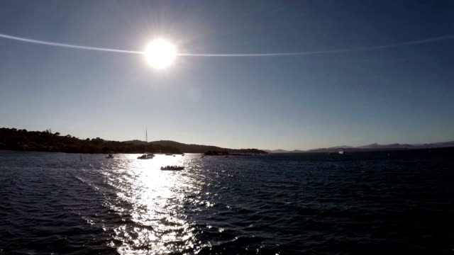 Cruising at sunset in Calanques area video