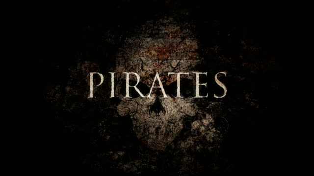 Cryptic Animated Vintage PIRATES Sign Over Skull Background Loop video