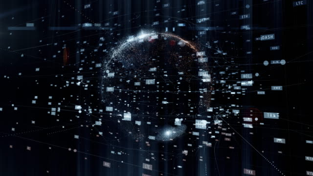 cryptocurrency グローブ - エレクトロニクス産業点の映像素材/bロール