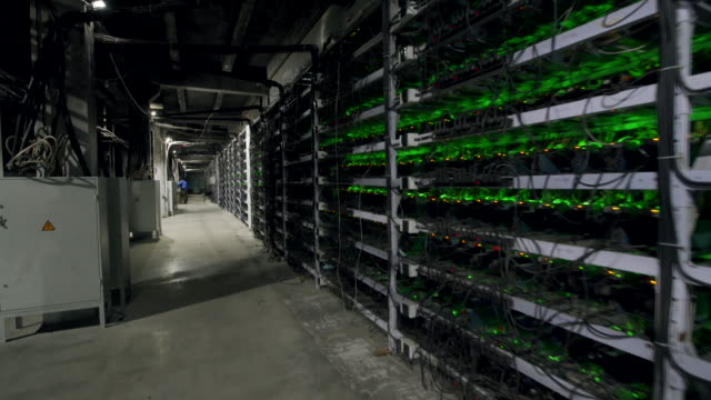 cryptocurrency mining equipment on large farm. asic miners on stand racks mine bitcoin in server room. blockchain techology application specific integrated circuit. steadycam footage along racks - bitcoin filmów i materiałów b-roll