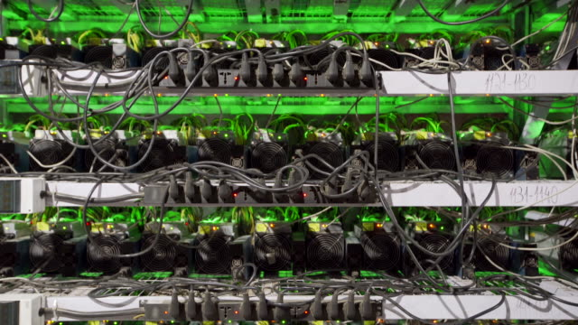 Cryptocurrency mining equipment on large farm. ASIC miners on stand racks mine bitcoin in server room. Blockchain techology application specific integrated circuit Cryptocurrency mining equipment on large farm. ASIC miners on stand racks mine bitcoin in server room footage. Blockchain techology application specific integrated circuit footage. hashish stock videos & royalty-free footage