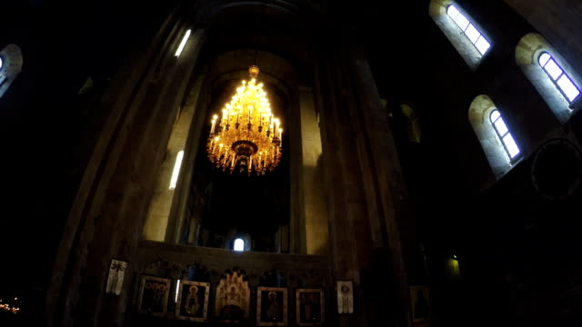 Crystal chandelier in Georgian church video