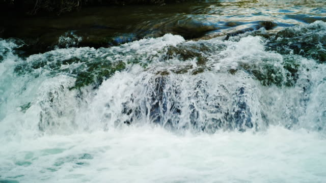 Crystal clear mountain river, water flows through the rocks. Slow Motion Picture Crystal clear mountain river, water flows through the rocks. Slow Motion Picture rapids river stock videos & royalty-free footage