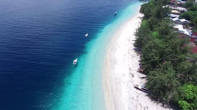 Crystal clear sea water in summer Gili Island