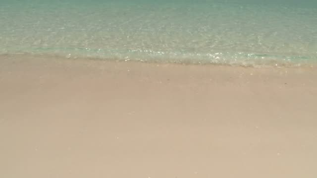 crystal clear waters with soft waves rolling into the beautiful white sandy shore on a sunny day - юго восток стоковые видео и кадры b-roll