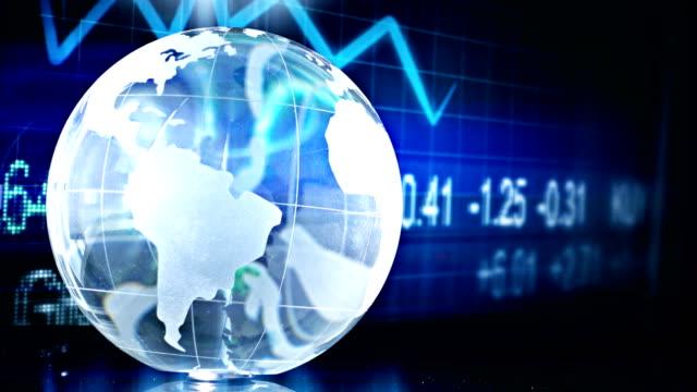 Crystal Globe And Finance Chart video