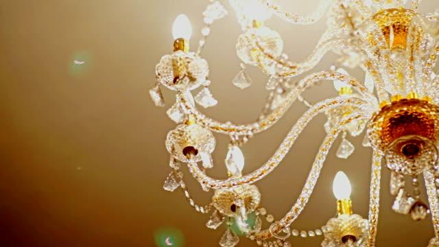 Crystal Gold Chandelier CU Worm Eye View: Crystal Gold Chandelier 19th century style stock videos & royalty-free footage