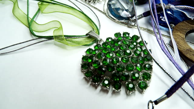 crystals beads jewellery as fashion background video